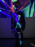 Детский светящийся костюм унисекс Brawl Stars Leon ( Бравл Старс Леон) фиолетово-зелёная молния+маска в подаро