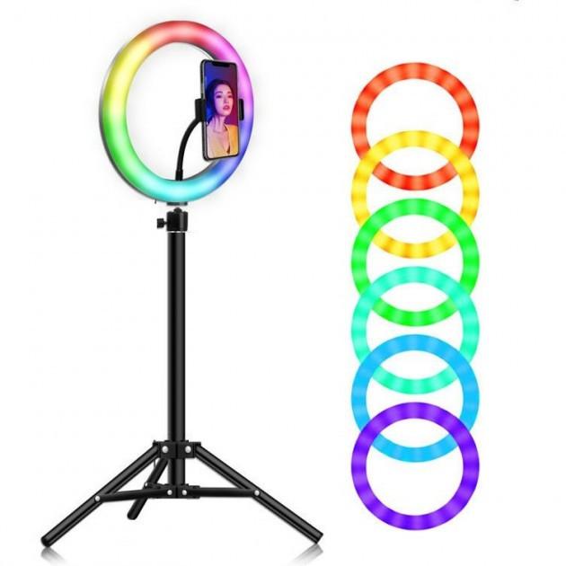 Светодиодная Кольцевая LED лампа с штативом и пультом для селфи RGB Mj20 20см