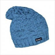 Голубая вязаная спортивная зимняя шапка мужская
