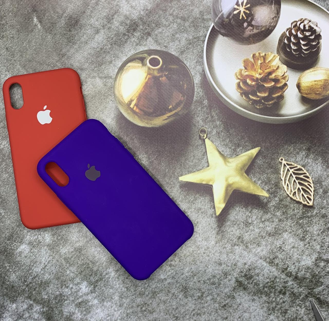 Чехол на iPhone X силиконовый Silicone Case оригинальный цветной противоударный