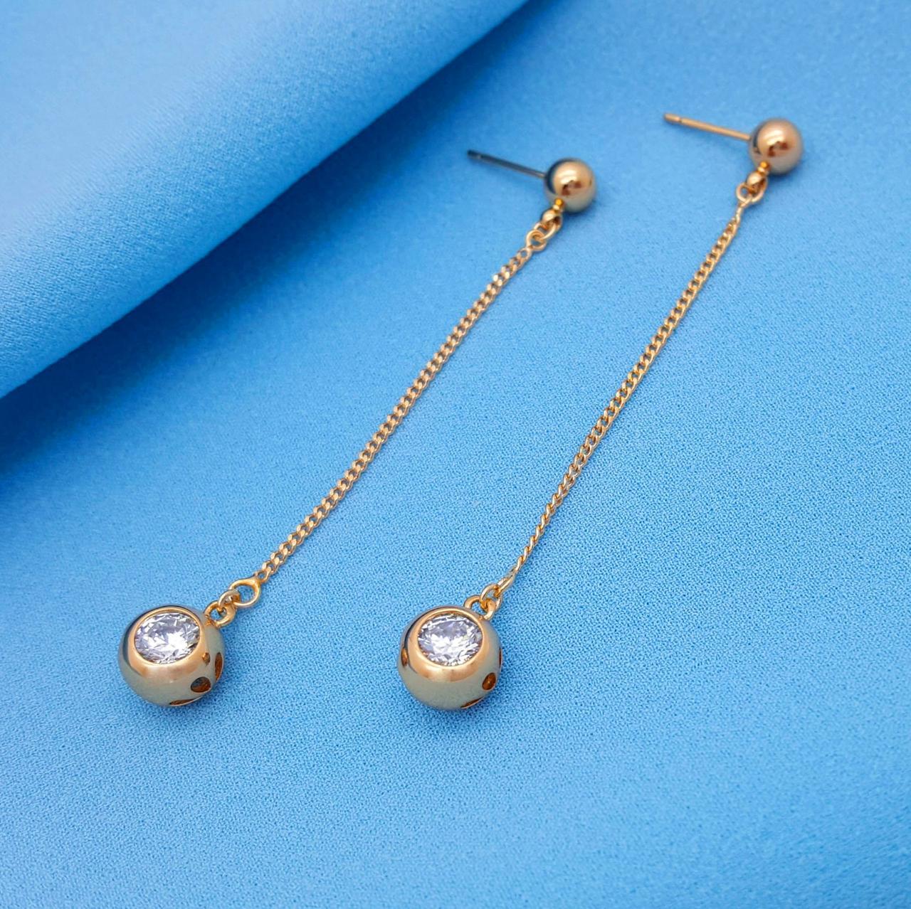 Серьги гвоздики, Висюлькы на цепочке с цирконием, позолота Xuping