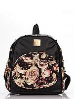 Товар с дефектом!, Черный городской рюкзак с шипами Цветы
