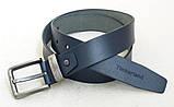 Мужской кожаный ремень Timberland синий, фото 4