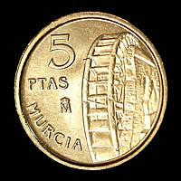 Монета Испании 5 песет 1999 г. Мурсия, фото 1