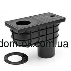Дождеприемник пластиковый МСН 325Е, вертик. подкл. D110, стандарт черный
