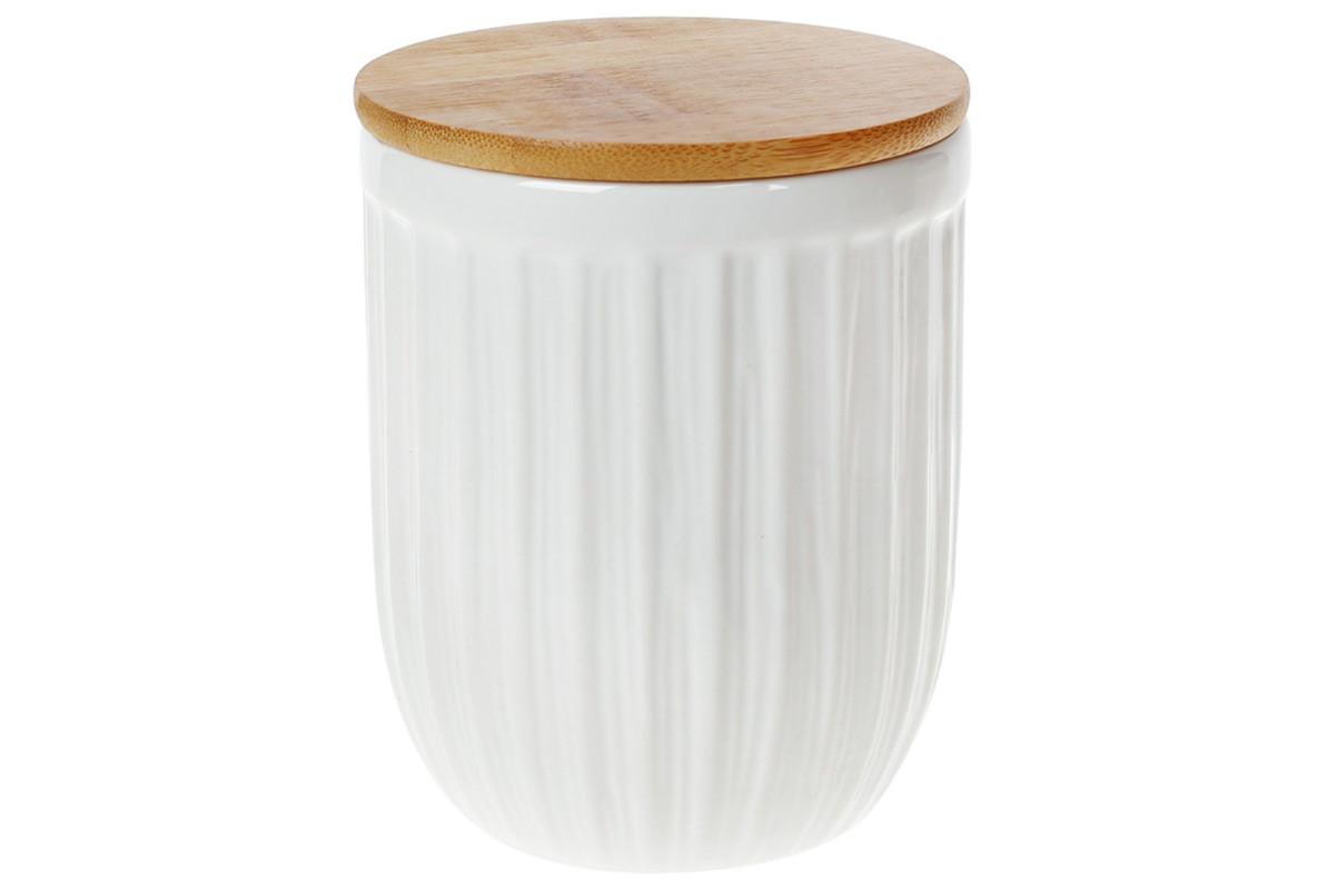 Банка керамічна для зберігання 700мл з бамбуковою кришкою (304-933)