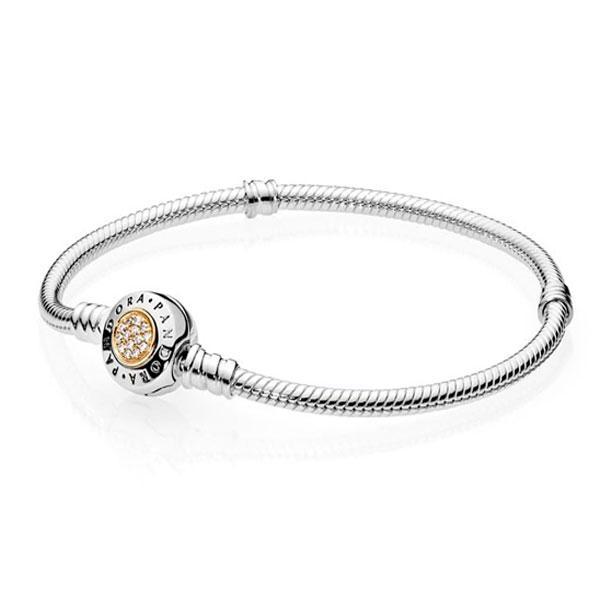 Пандора Браслет серебро с золотом (17 см) Pandora 590741CZ
