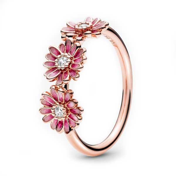Пандора Кольцо Трио розовых маргариток Rose (58) Pandora 188792C01