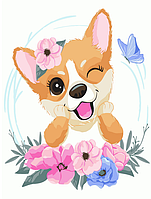 """Картина за номерами """"Собачка з квітами"""" для дітей в коробці, 30*40 см"""