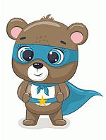 """Картина за номерами """"Ведмедик - Супергерой"""" для дітей в коробці, 30*40 см"""