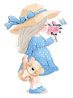 """Картина за номерами """"Дівчинка з ведмедиком"""" для дітей в коробці, 30*40 см"""