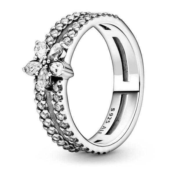 """Пандора Двойное кольцо """"Блестящая снежинка"""" (52) Pandora 199236C01"""