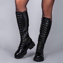 Молодежные стильные сапоги с высокой шнуровкой.  Зима, деми. Пошив на любую голень.