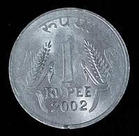 Монета Индии 1 рупия 2002 г., фото 1