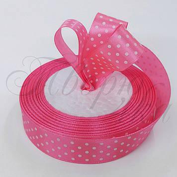 Лента атласная с рисунком в горошек розовая 20 мм