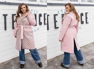 """Комбинированное женское пальто """"Nada"""" с поясом и карманами (большие размеры)"""