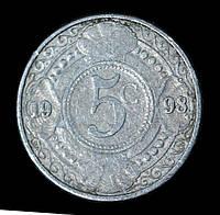 Монета Нидерландских Антильских островов 5 центов 1998 г., фото 1