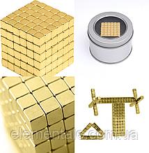 Магнитная игрушка Неокуб головоломка  Neocube 216 кубиков 5 мм в боксе Золотая
