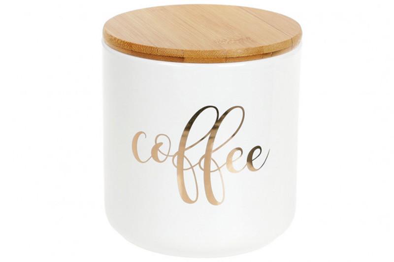 Банка керамічна з золотим написом Coffee для зберігання сипучих 600мл з бамбуковою кришкою - гофре
