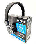 Беспроводные Bluetooth наушники Atlanfa AT-7611 Black c MP3 плеер, FM радио приемником и микрофоном, фото 3