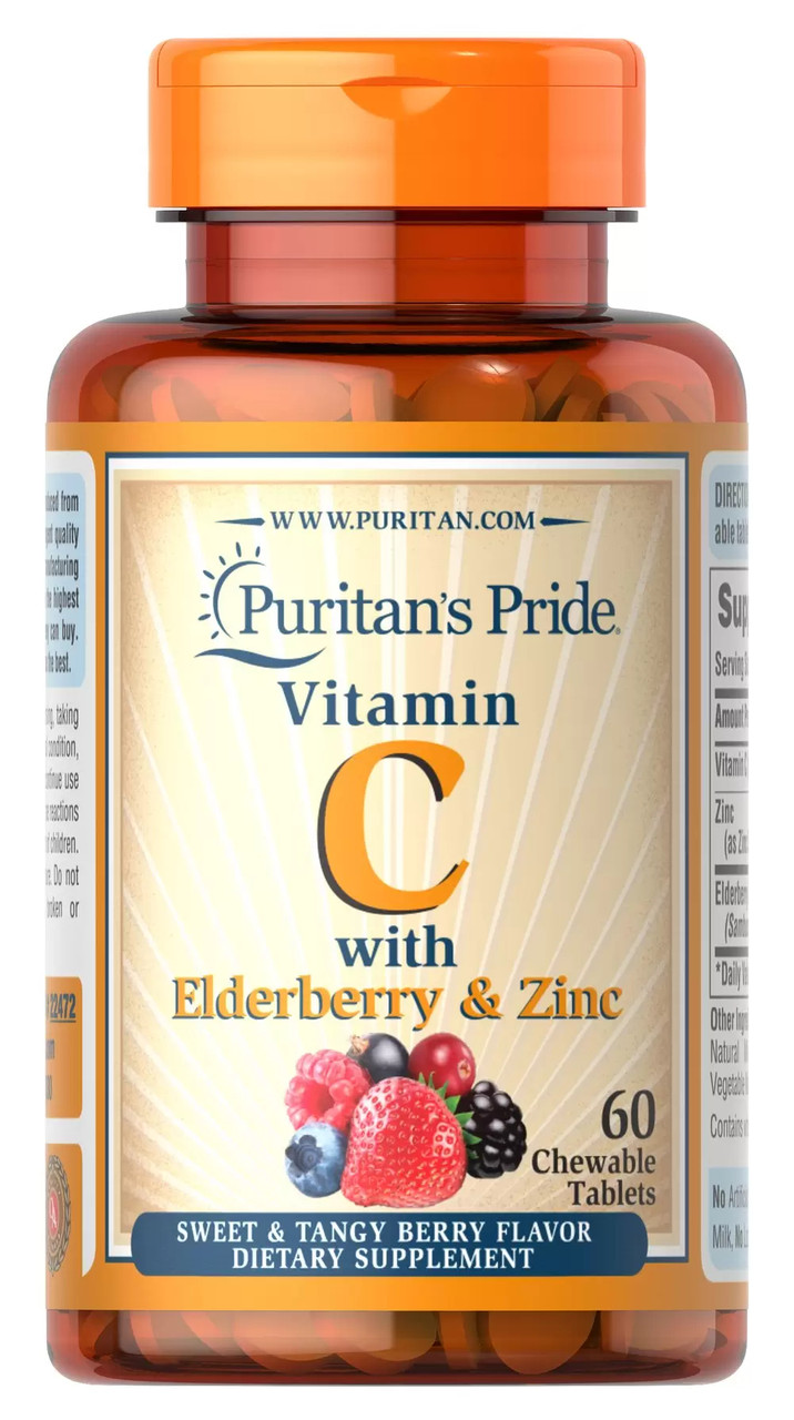 Витамин С и Цинк Puritan's Pride Vitamin C with Elderberry & Zinc 60 chewable tablets