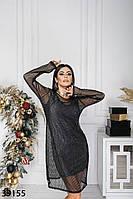 Оригинальное платье двойка нижнее платье по фигуре без рукавов, верх платье-сетка с 42 по 48 размер, фото 1