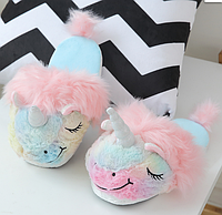 Разноцветные тапочки игрушки Единороги размер 35-38, стелька 24,5 см