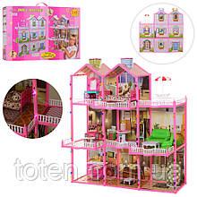 Домик для кукол Барби 245 дет с мебелью большой свет 3 этажа. 8 комнат, веранда Размер 109х107х41 см 6992 Т