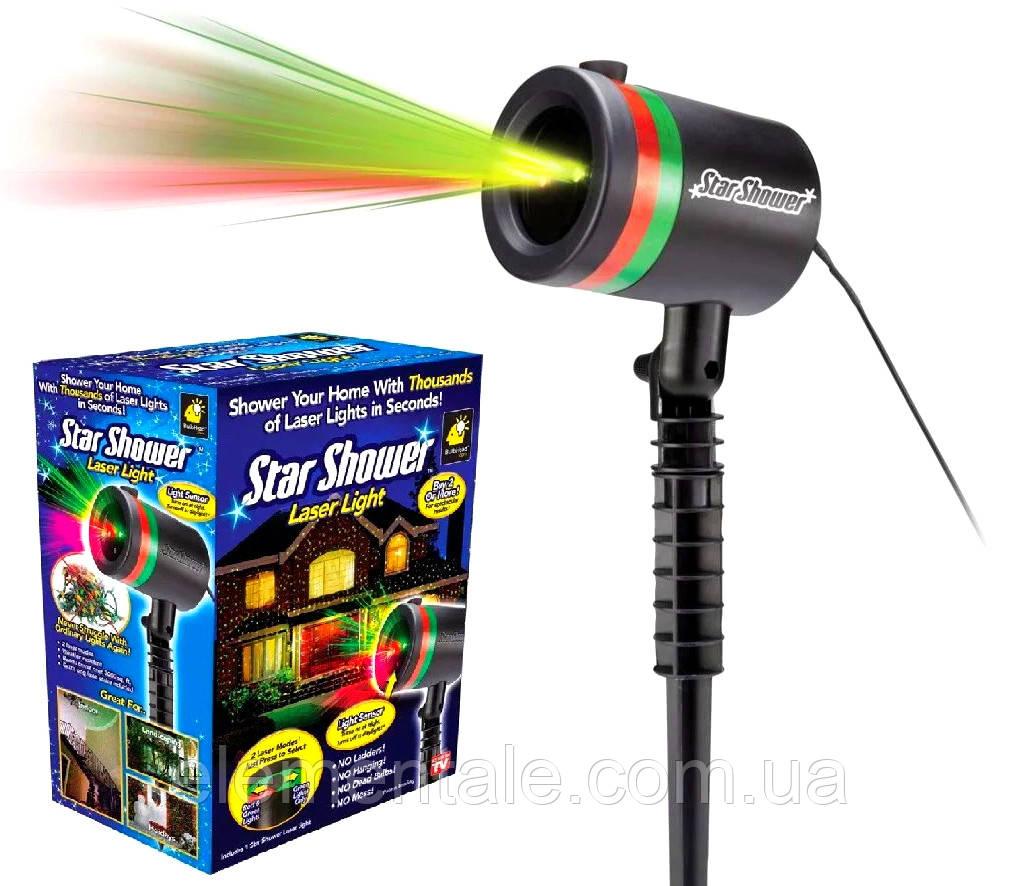 Новогодний лазерный проектор для улицы и фасада дома  Star Shower Laser Light оригинальная гирлянда Звездное