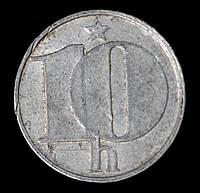 Монета Чехословакии 10 геллеров 1975 г., фото 1