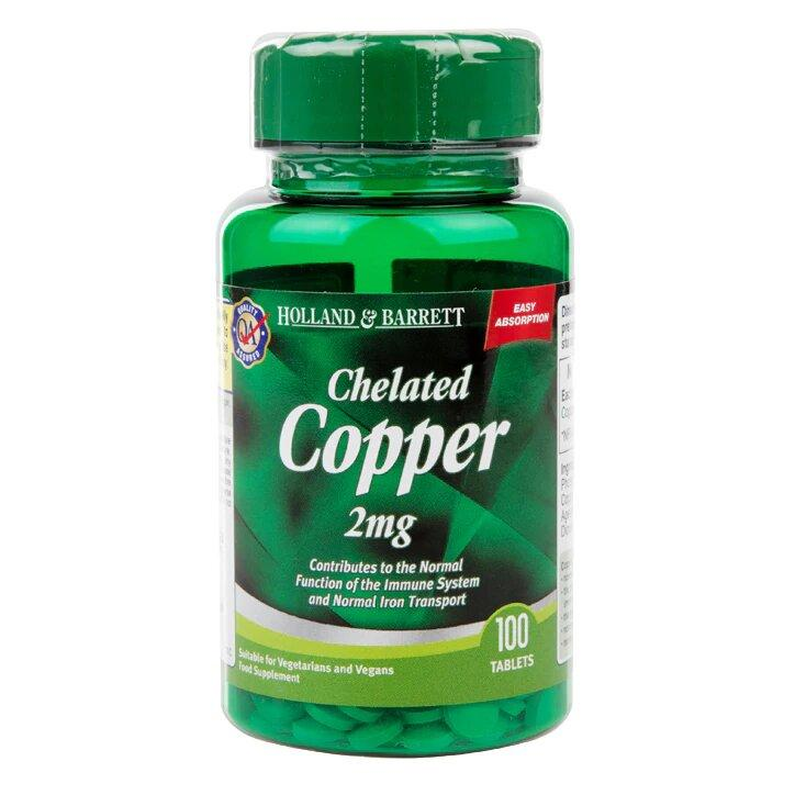 Биологически активная добавка Holland & Barrett Chelated Copper 2 mg, 100 шт.