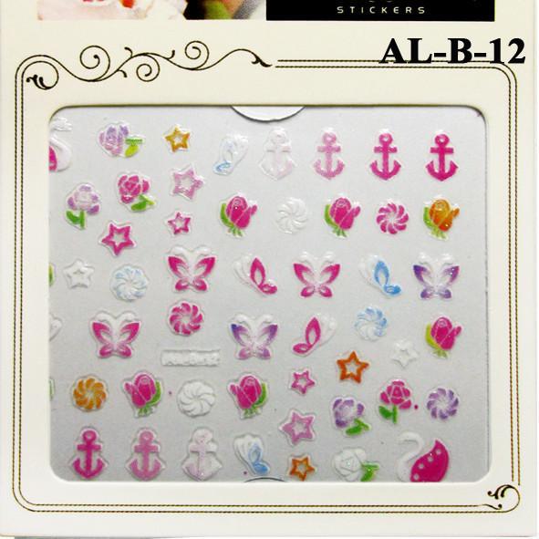 3D Наклейки для Ногтей Самоклеющиеся Nail Sticrer AL-B-12 Цветы, Бабочки, Звезды, Якоря, Ногти, Маникюр