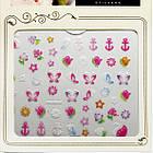 3D Наклейки для Ногтей Самоклеющиеся Nail Sticrer AL-B-12 Цветы, Бабочки, Звезды, Якоря, Ногти, Маникюр, фото 3