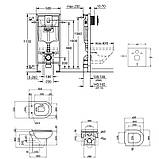 Набор инсталляция 4 в 1 Grohe Rapid SL 38721001 + унитаз с сиденьем Qtap Lark QT0331159W, фото 2
