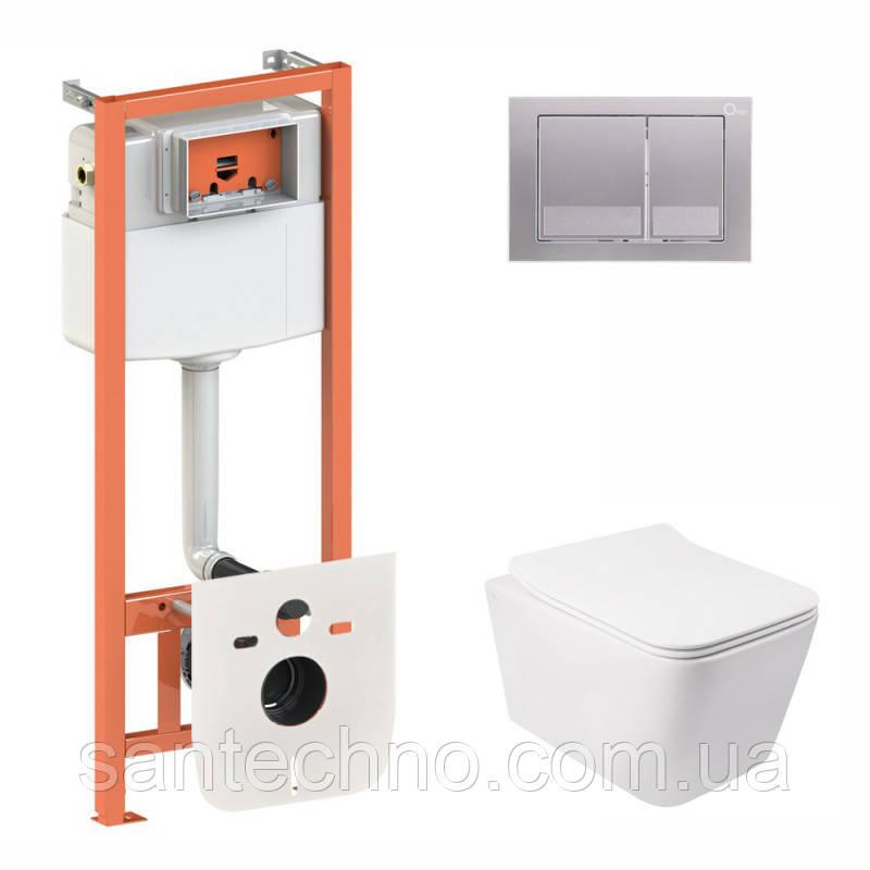 Набор Qtap инсталляция + унитаз с сиденьем (3 в 1) Nest QT0133M425 с панелью смыва квадратной