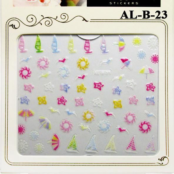 3D Наклейки для Ногтей Самоклеющиеся Nail Sticrer AL-B-23 Цветы, Кораблики, Солнышко, Лето Слайдер Дизайн