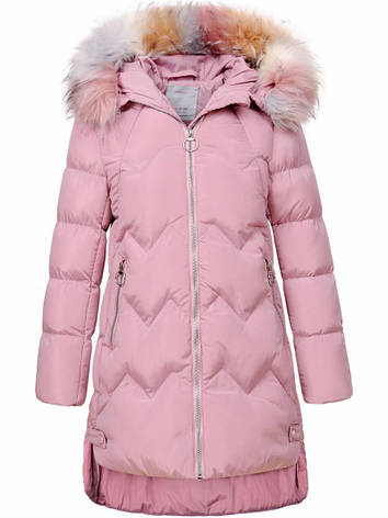 Подростковая зимняя куртка для девочки пудровая, фото 2