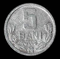 Монета Молдавии 5 бани 2008 г., фото 1