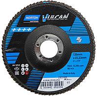 """Круг шлифовальный лепестковый """"NORTON VULCAN"""" Ø=125х22 мм Р60 зерно с электрокорунда"""