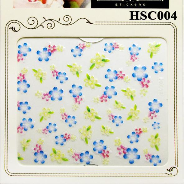 3D Наклейки для Ногтей Самоклеющиеся Nail Sticrer HSC004 Цветы Желтые, Голубые, Розовые, Слайдер Дизайн