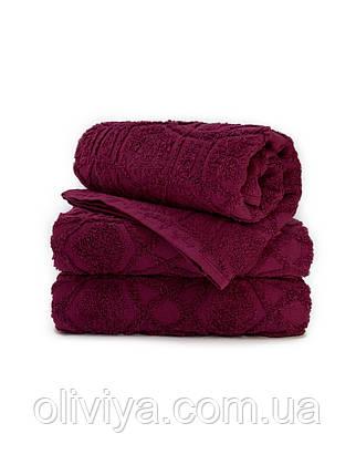 Полотенца для лица махровое Жаккард бордовое, фото 2