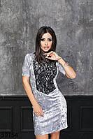 Деловое велюровое платье-футляр с вставкой гипюра на груди с 42 по 46 размер, фото 1