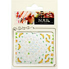 3D Наклейки для Ногтей Самоклеющиеся Nail Sticrer HSC017 Белые Цветы Гирлянды Желтые Слайдер Декоры для Ногтей, фото 2