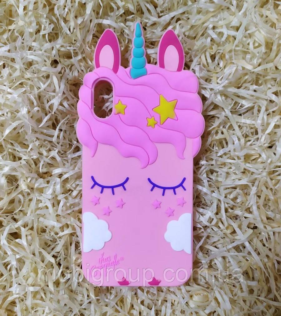 Силиконовый чехол Единорог для iPhone X/XS, Pink