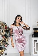 Велюровое мини платье с вырезом Анжелика и рукавами-фонариками из сетки с 42 по 46 размер, фото 1