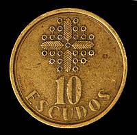 Монета Португалии 10 эскудо 1986 г., фото 1