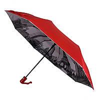 Женский зонтик полуавтомат Bellissimo с узором изнутри и тефлоновой пропиткой, красный, 18315-3, фото 1