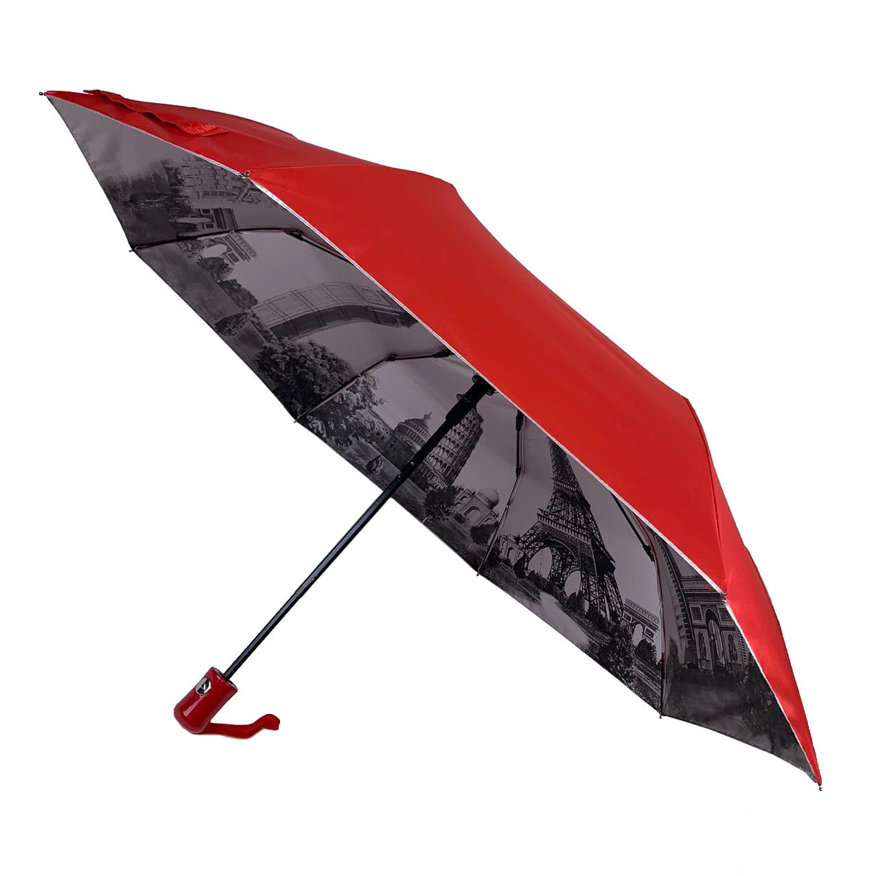 Женский зонтик полуавтомат Bellissimo с узором изнутри и тефлоновой пропиткой, красный, 18315-3