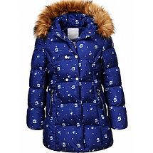 Зимняя куртка синяя для девочки  6/7 лет, фото 2