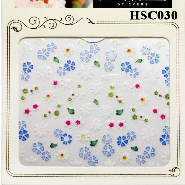 3D Наклейки для Ногтей Самоклеющиеся Nail Sticrer HSC030 Цветы Белые, Голубые Дизайн Ногтей, Слайдер Дизайн